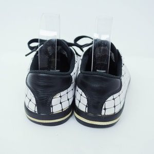 Lacoste Shoes - Lacoste Lace Up Sneakers Check Grid Print Leather